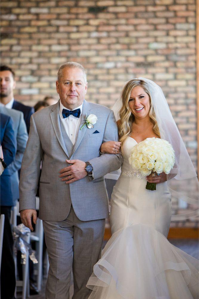 brittany matthew local love the ridge hotel chicago wedding father walking daughter down aisle