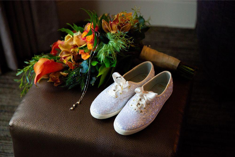 caitlin carolyn salvage one chicago wedding bridal details white sneaker wedding shoes