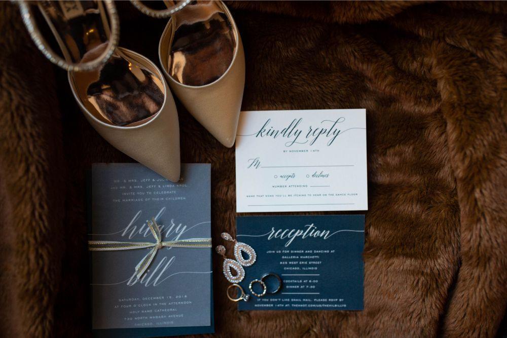 hilary bill galleria marchetti chicago, il wedding invitation details