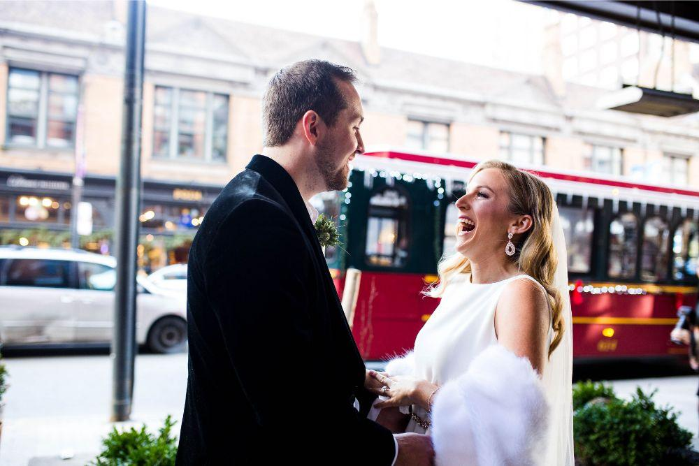 hilary bill galleria marchetti chicago, il wedding first look
