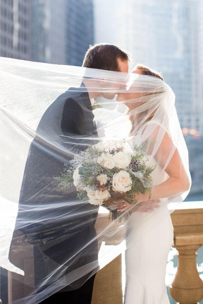 hilary bill galleria marchetti chicago, il wedding bride and groom veil