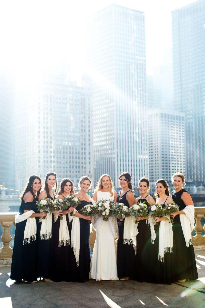 hilary bill galleria marchetti chicago, il wedding bridal party