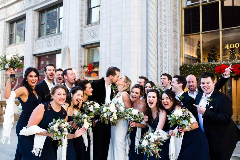 hilary bill galleria marchetti chicago, il wedding wedding party couple kissing
