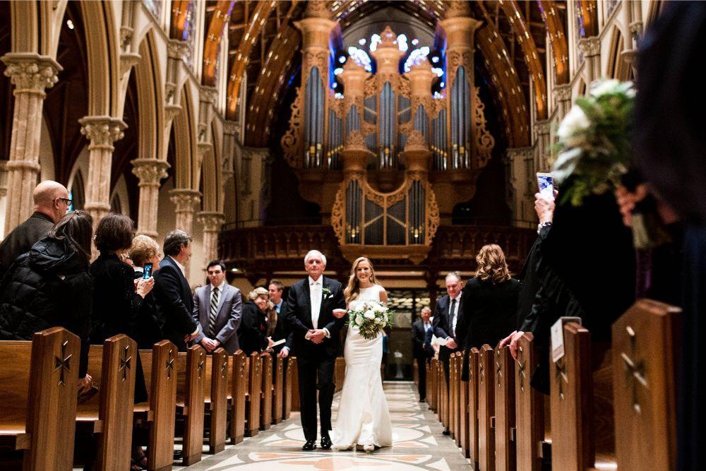 hilary bill galleria marchetti chicago, il wedding father walking daughter down aisle church wedding ceremony
