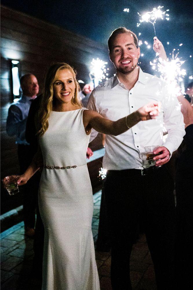 hilary bill galleria marchetti chicago, il wedding sparkler exit