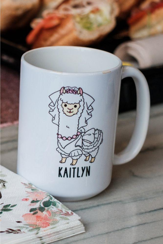 local love kaitlyn tom lacuna lofts chicago, il wedding llame bride mug