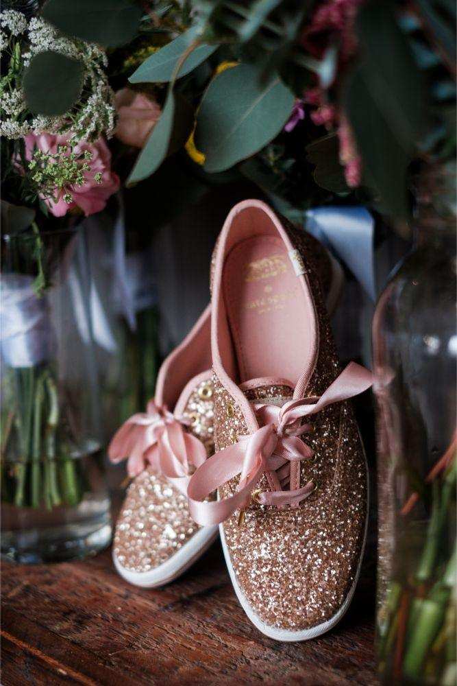 local love kaitlyn tom lacuna lofts chicago, il wedding bridal sparkly keds