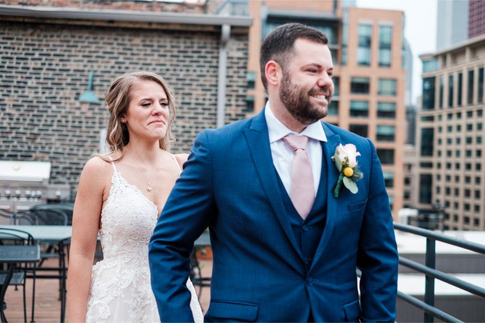 local love kaitlyn tom lacuna lofts chicago, il wedding bride and groom first look