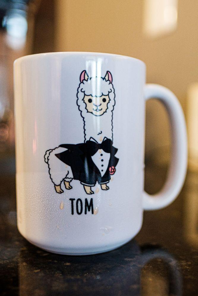 local love kaitlyn tom lacuna lofts chicago, il wedding groom llama mug