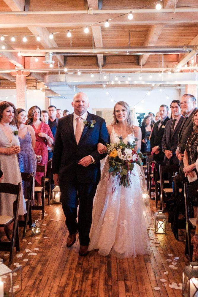 local love kaitlyn tom lacuna lofts chicago, il wedding father walking bride down aisle