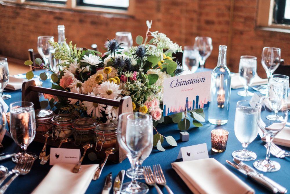 local love kaitlyn tom lacuna lofts chicago, il wedding reception decor