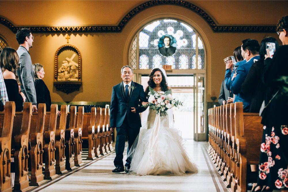 kathy michael skyline loft bridgeport art center chicago wedding father walking daughter down aisle