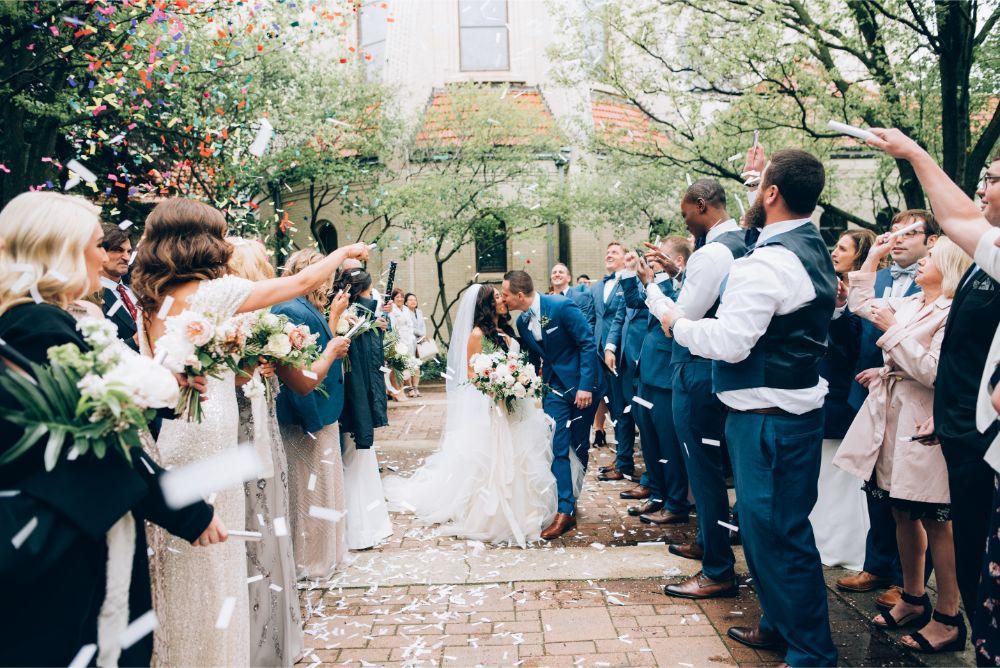 kathy michael skyline loft bridgeport art center chicago wedding confetti exit