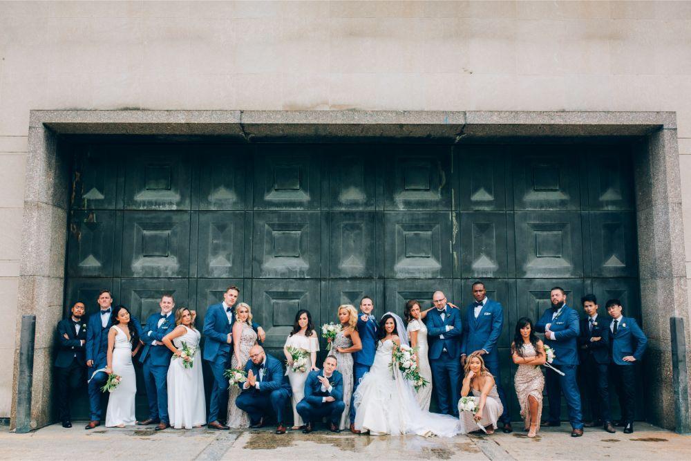 kathy michael skyline loft bridgeport art center chicago wedding bridal party
