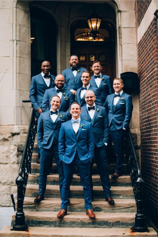 kathy michael skyline loft bridgeport art center chicago wedding groom and groomsmen