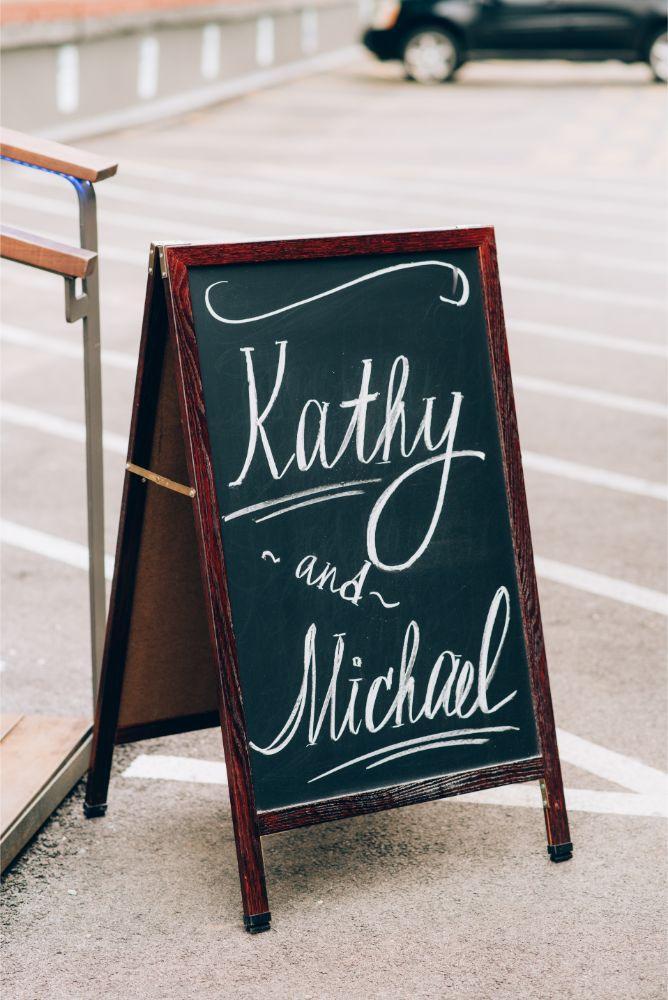 kathy michael skyline loft bridgeport art center chicago wedding reception details sign