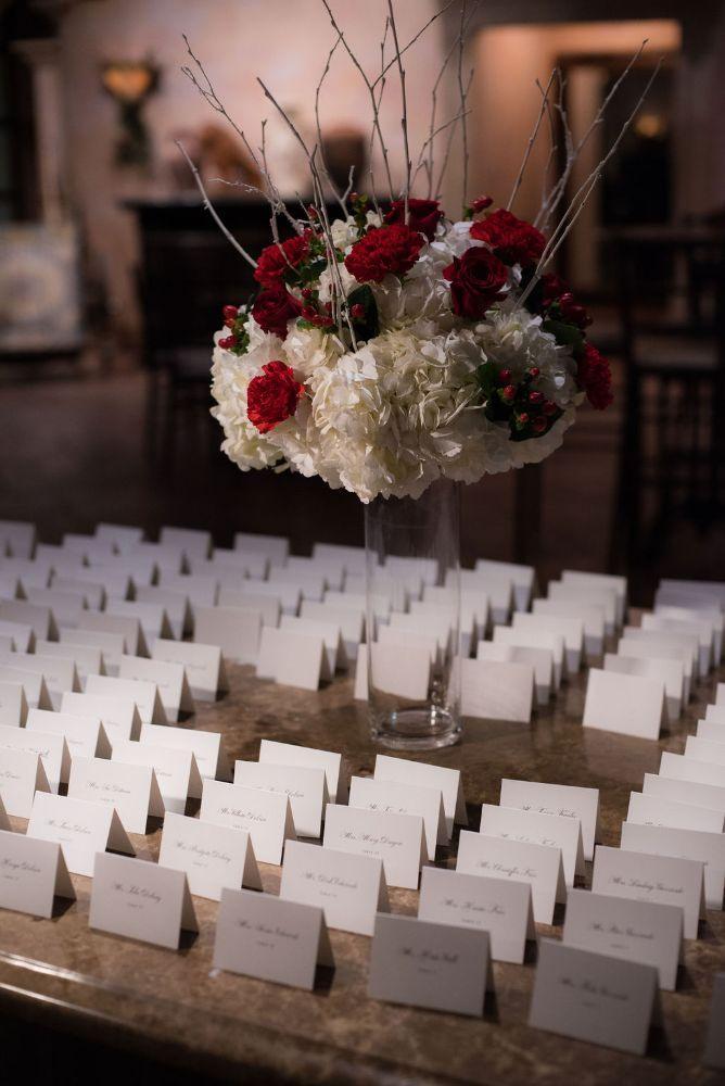 sarah chris galleria marchetti chicago, il wedding reception details seating cards