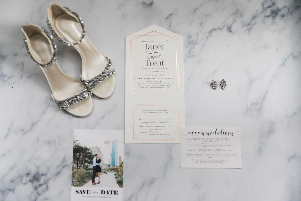 janet trent the mid-america club chicago, il wedding invitation suite flat lay