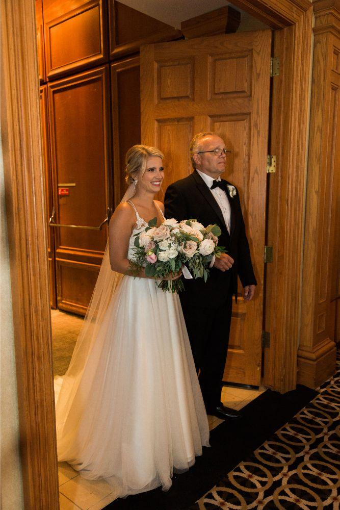 janet trent the mid-america club chicago, il wedding father walking daughter down aisle