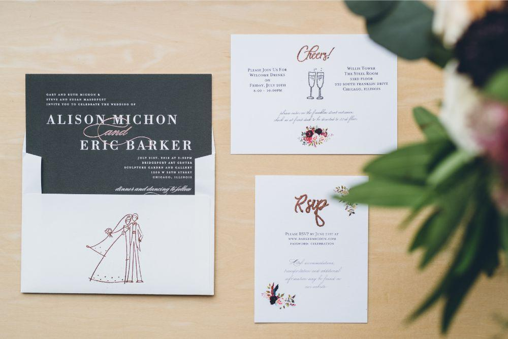 alison eric bridgeport art center chicago, il wedding stationery flatlay