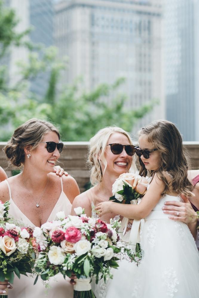 alison eric bridgeport art center chicago, il wedding flower girl bridesmaids