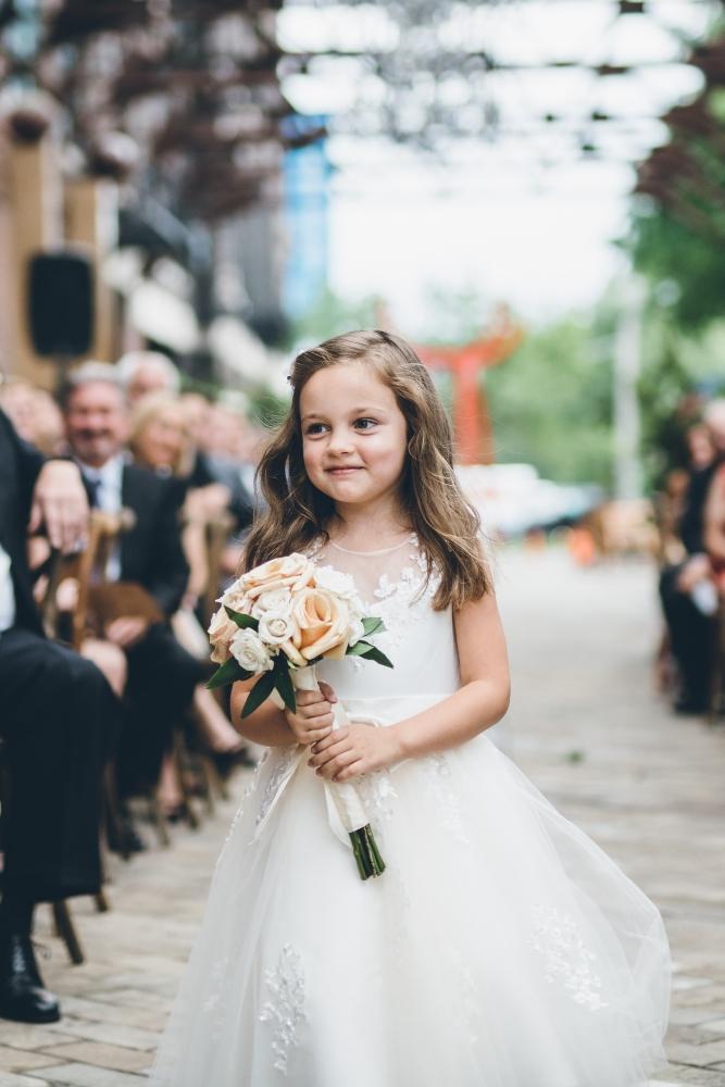 alison eric bridgeport art center chicago, il wedding flower girl