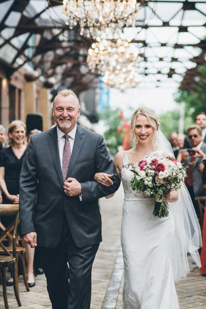 alison eric bridgeport art center chicago, il wedding father walking daughter down aisle