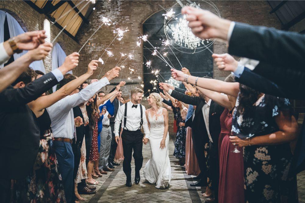 alison eric bridgeport art center chicago, il wedding sparkler exit