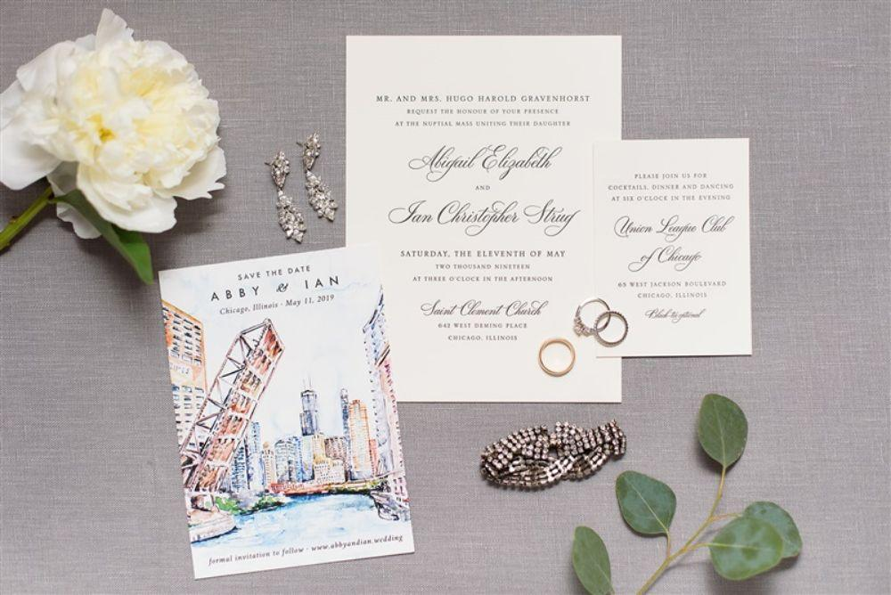 abby ian Union League Club of Chicago wedding invitation flat lay