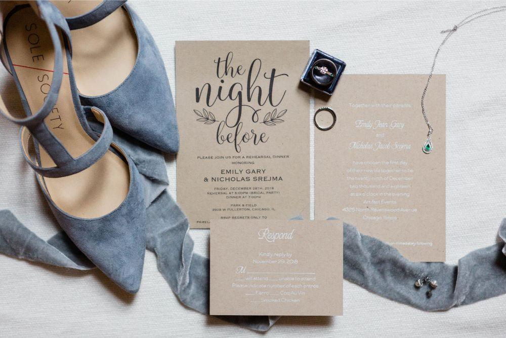 emily nick artifact events chicago, il wedding invitation details flat lay