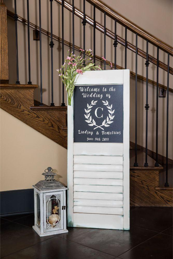 lindsay demetrius fisherman's inn chicago il wedding welcome sign