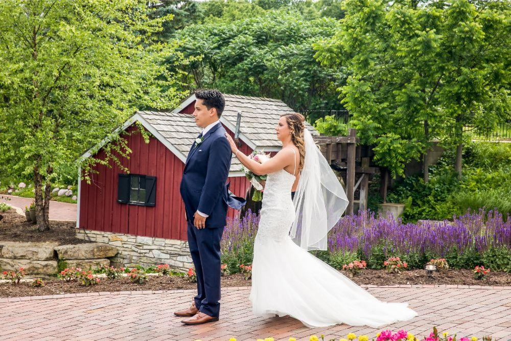 lindsay demetrius fisherman's inn chicago il wedding first look bride and groom