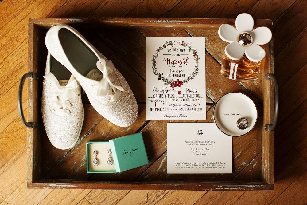 meaghann travis cog hill golf & country club chicago, il wedding invitations and details flat lay