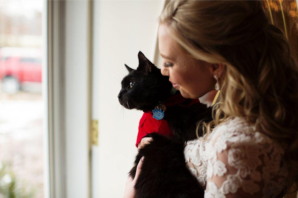 meaghann travis cog hill golf & country club chicago, il wedding bride with black cat