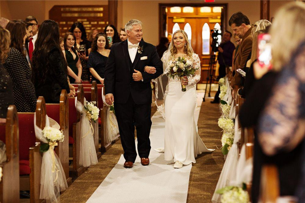 meaghann travis cog hill golf & country club chicago, il wedding father walking daughter down aisle