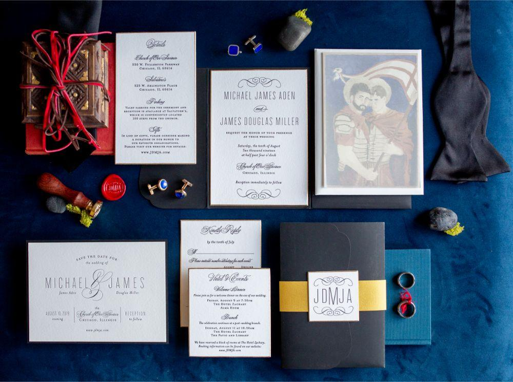jd mike salvatores chicago, il wedding stationery details flat lay