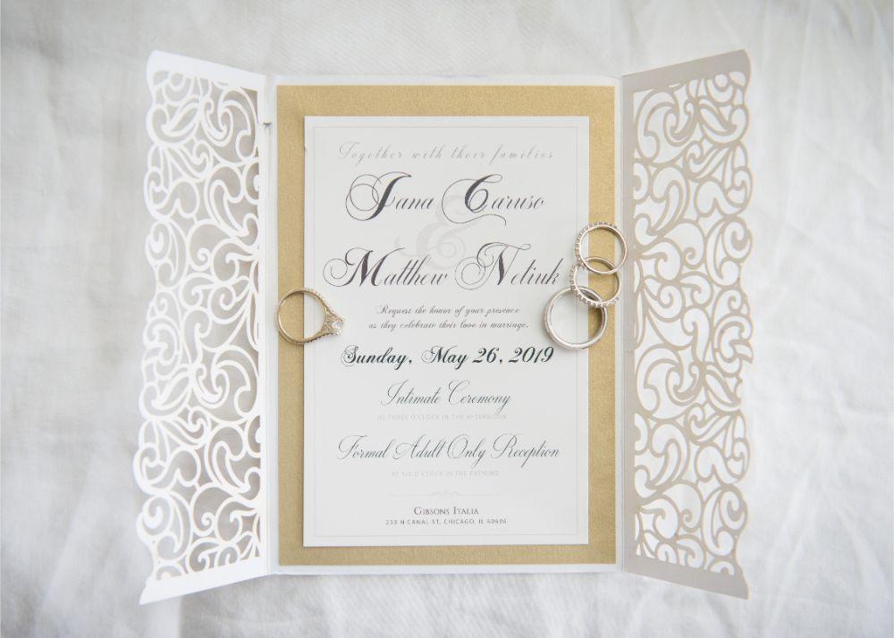 jana matt gibsons steakhouse chicago, il wedding stationery invitation flat lay