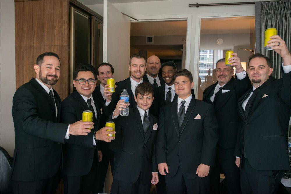 jana matt gibsons steakhouse chicago, il wedding groom and groomsmen getting ready