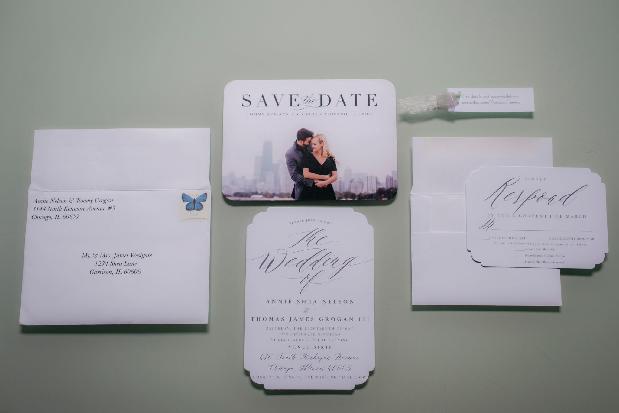 annie tommy venue SIX10 chicago, il wedding invitation suite