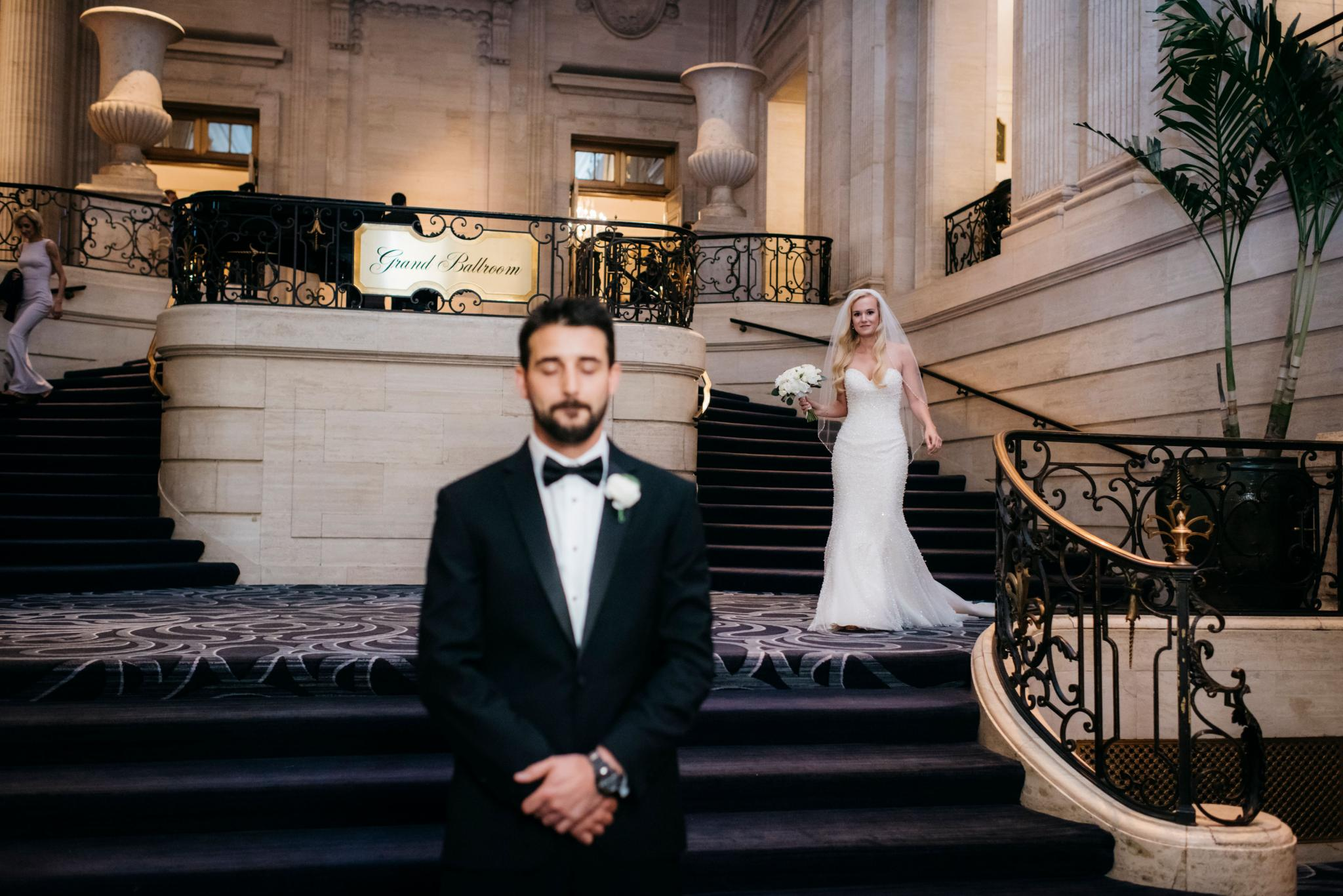 annie tommy venue SIX10 chicago, il wedding bride and groom first look