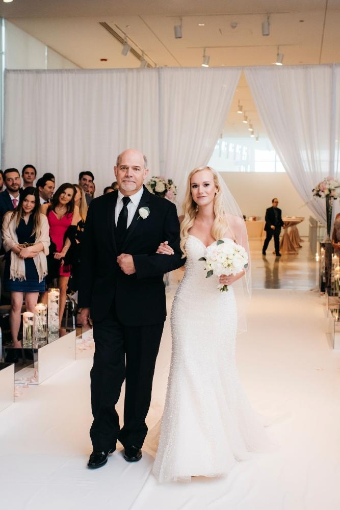 annie tommy venue SIX10 chicago, il wedding father walking bride down aisle