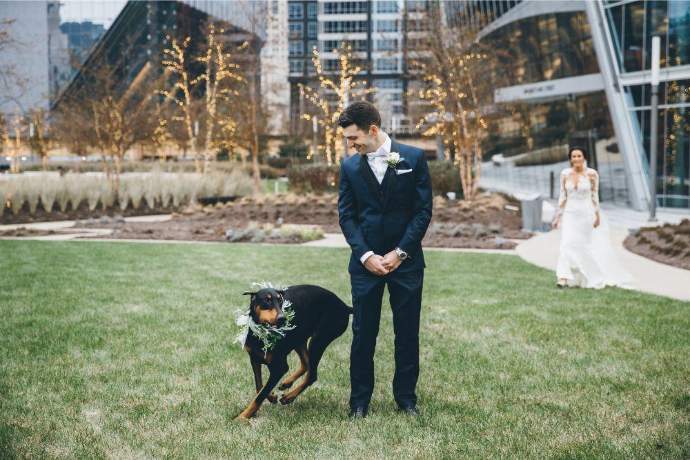 kelly alex local love skyline loft chicago, il wedding first look with bride groom and dog