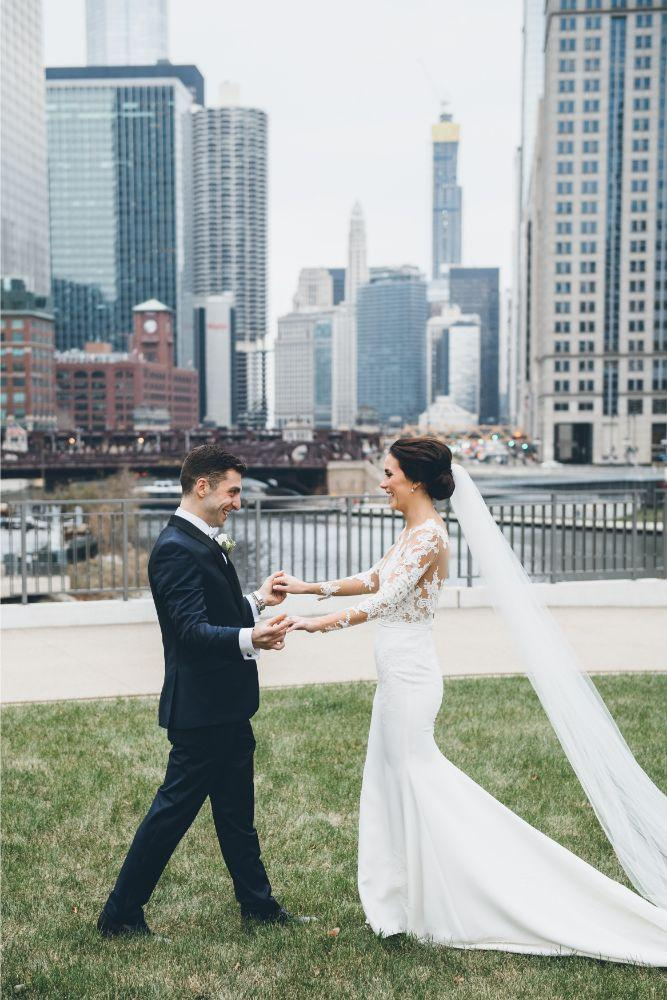 kelly alex local love skyline loft chicago, il wedding bride and groom first look
