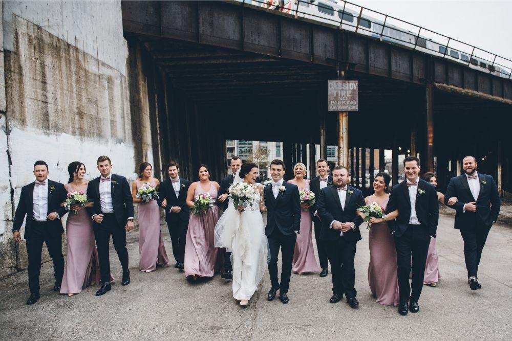 kelly alex local love skyline loft chicago, il wedding party