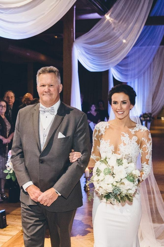 kelly alex local love skyline loft chicago, il wedding father walking daughter down aisle