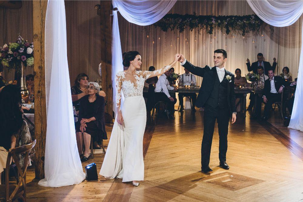 kelly alex local love skyline loft chicago, il wedding bride and groom first dance