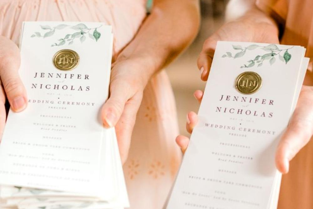 jenn and nick columbus park refectory chicago, il wedding programs