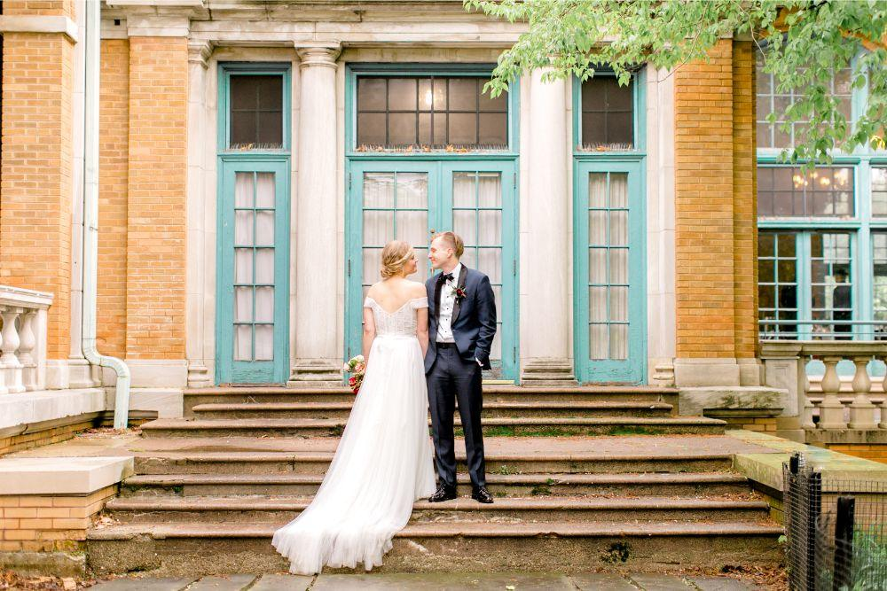 jenn and nick columbus park refectory chicago, il bride groom portrait