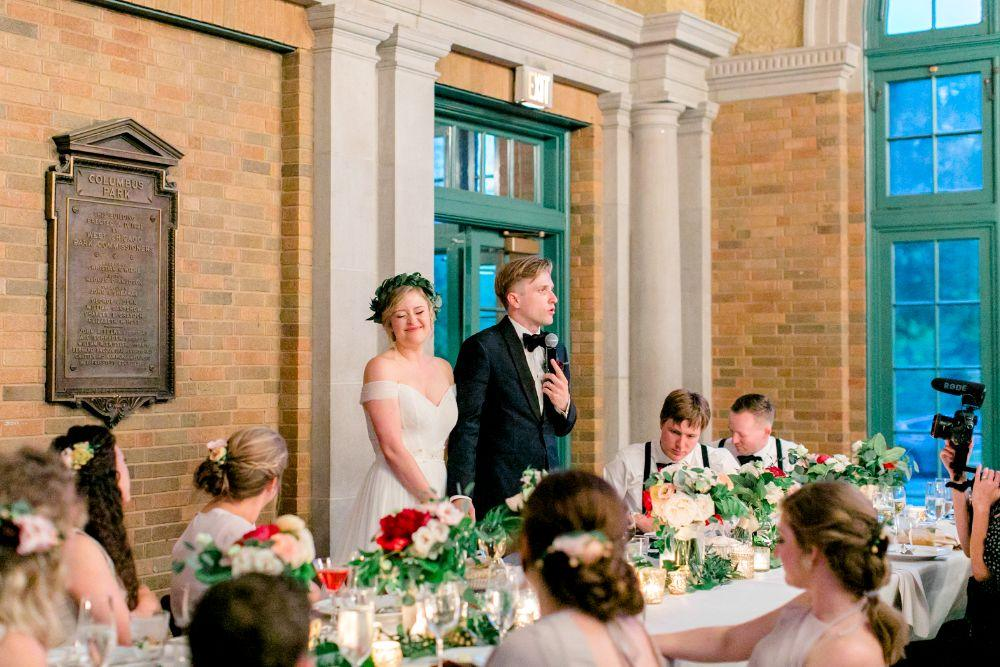 jenn and nick columbus park refectory chicago, il wedding toast