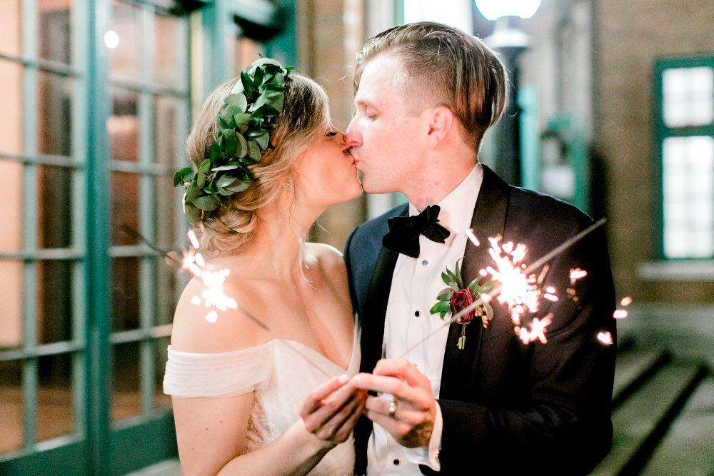 jenn and nick columbus park refectory chicago, il bride groom with sparklers